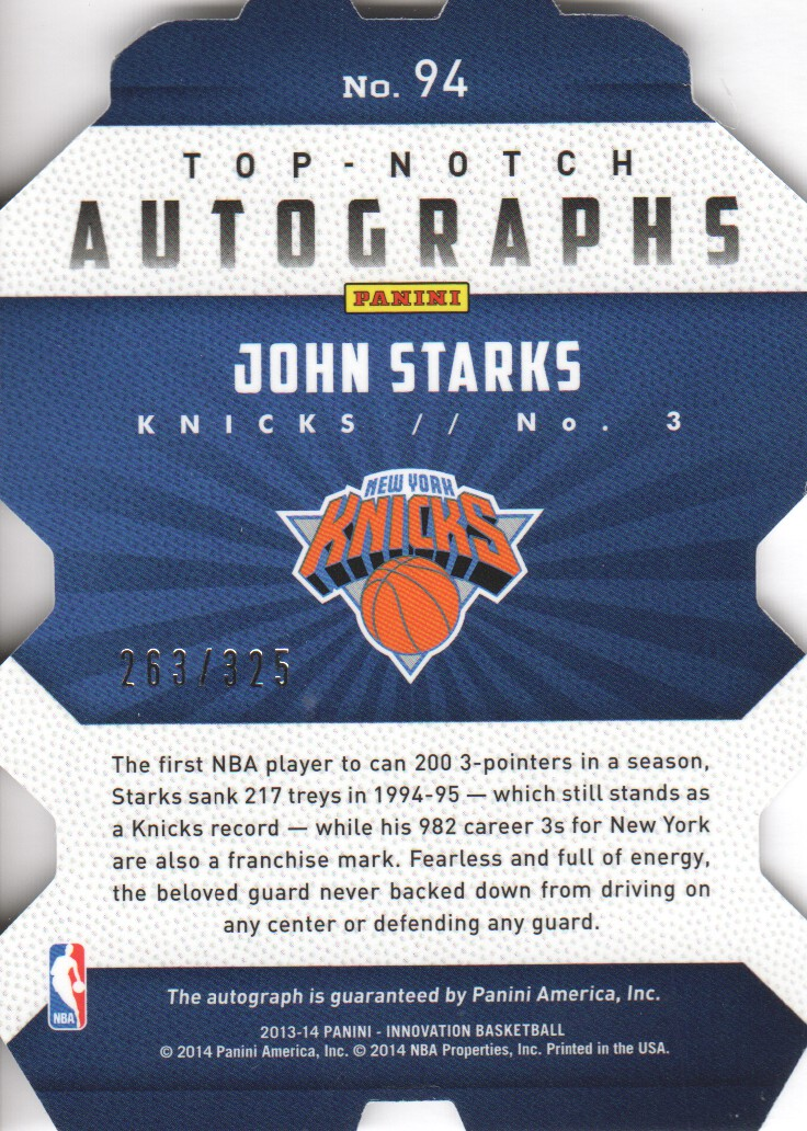 2013-14 Innovation Top Notch Autographs #94 John Starks/325