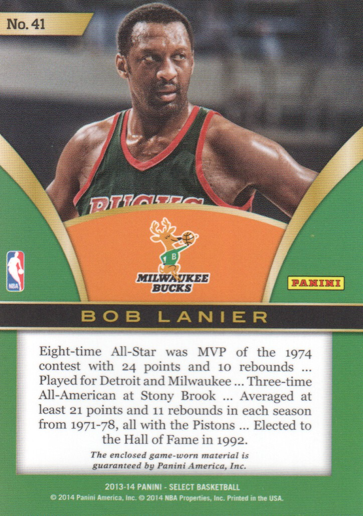 2013-14 Select Swatches #41 Bob Lanier