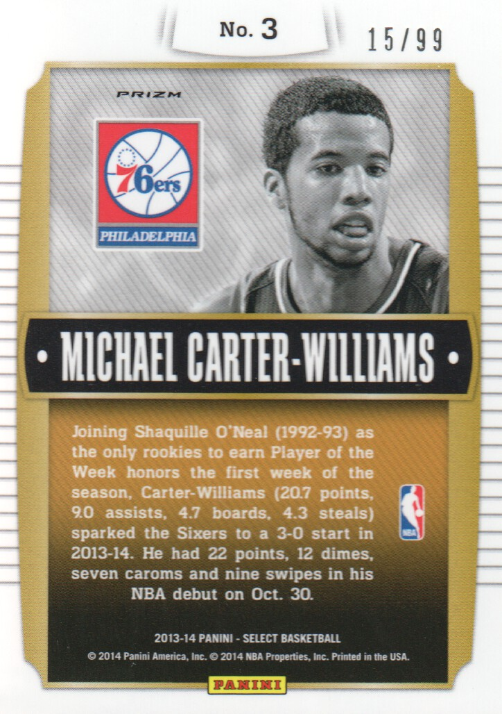2013-14 Select Young Bloods Prizms Purple #3 Michael Carter-Williams