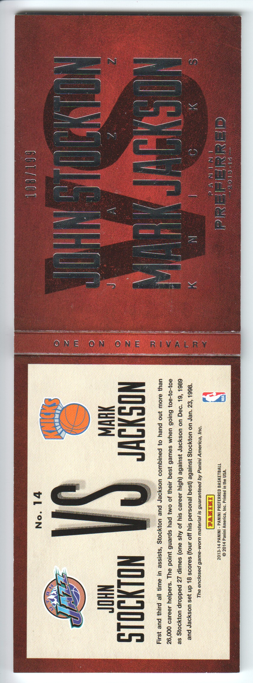 2013-14 Panini Preferred One on One Rivalry Memorabilia #14 Mark Jackson/John Stockton/199