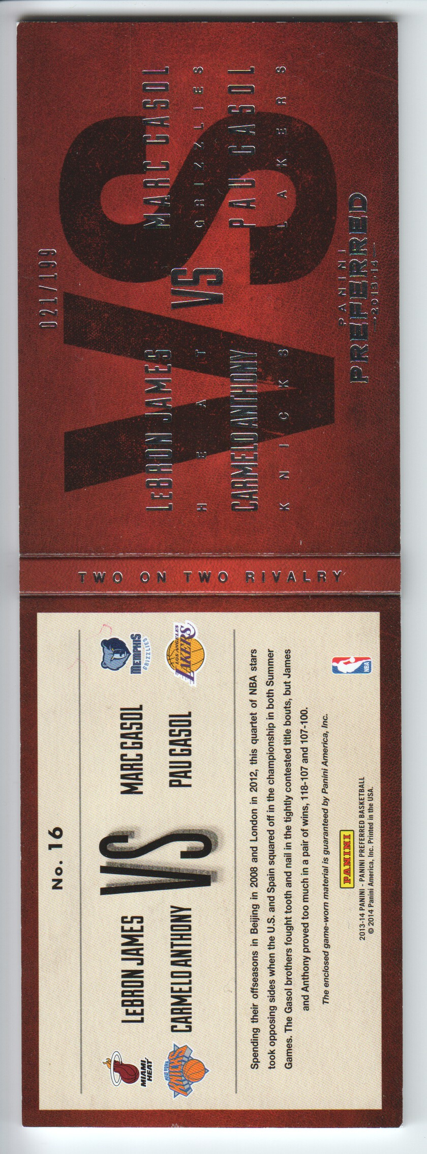 2013-14 Panini Preferred Two on Two Rivalry Memorabilia #16 Carmelo Anthony/LeBron James/Pau Gasol/Marc Gasol/199