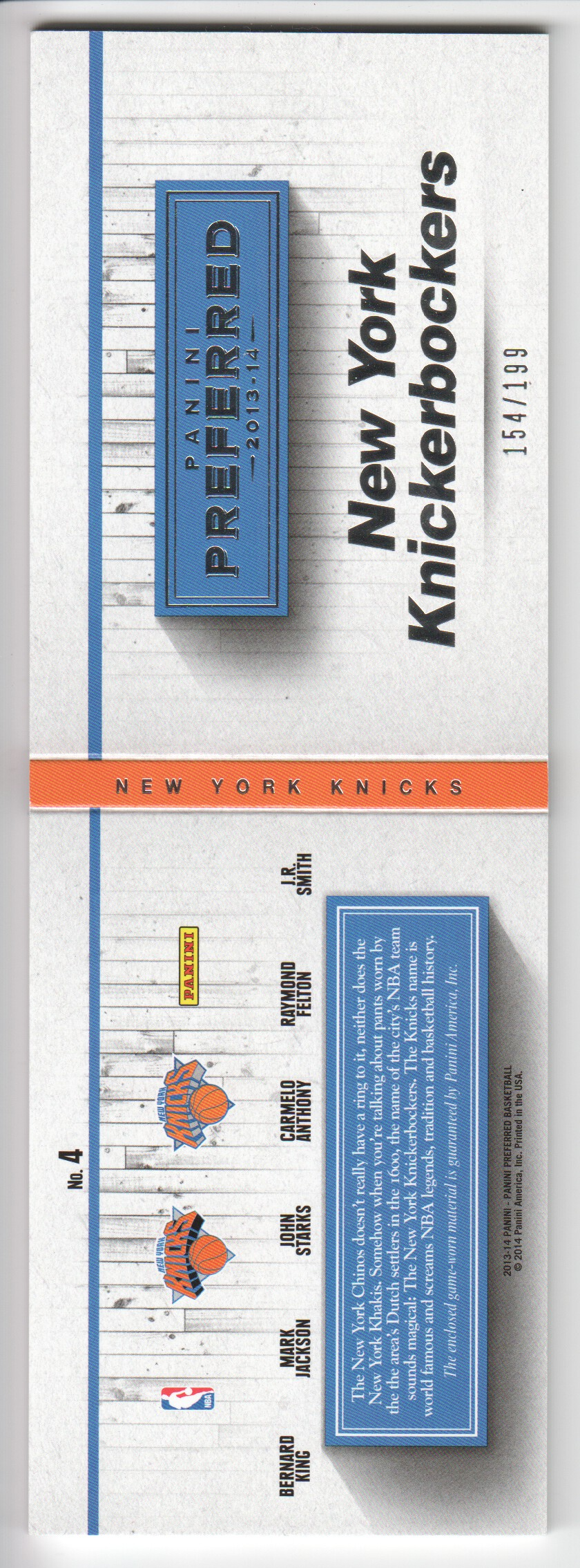 2013-14 Panini Preferred Knicks Memorabilia #4 Bernard King/Carmelo Anthony/John Starks/Mark Jackson/Raymond Felton/J.R. Smith