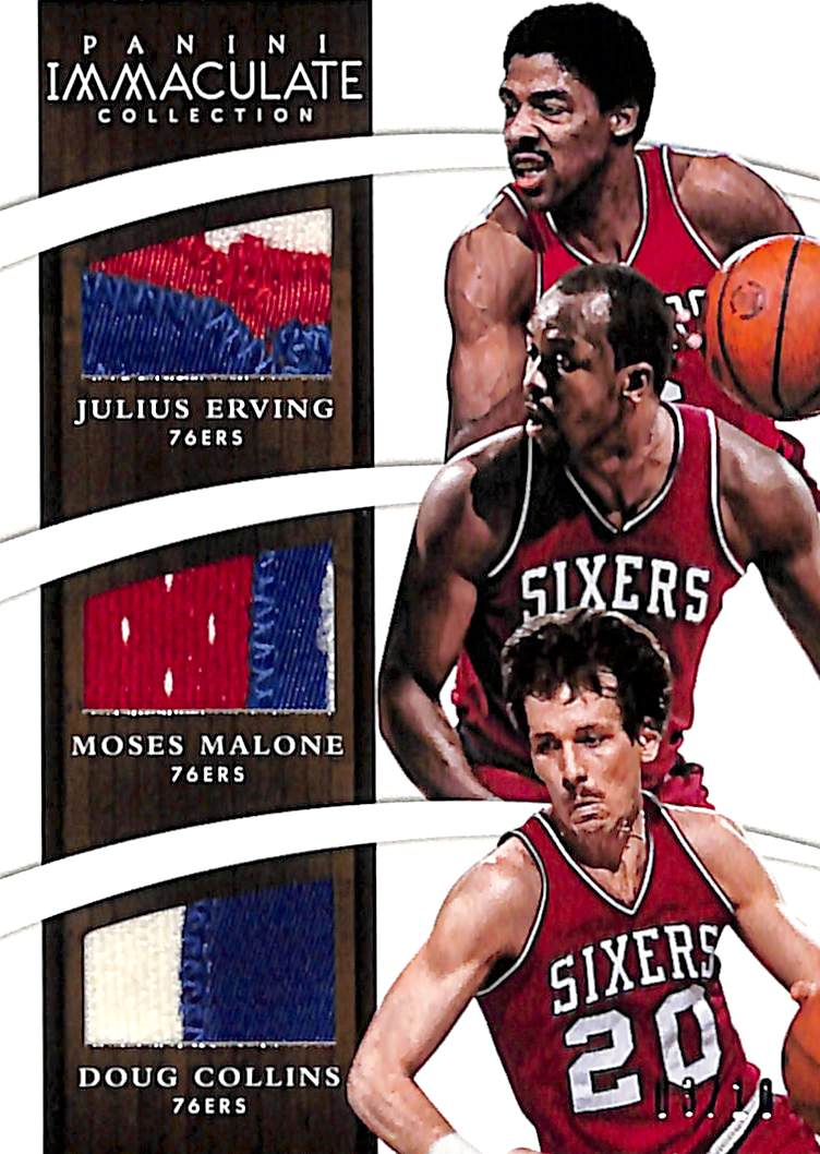 2014-15 Immaculate Collection Trios Materials Prime #TDAL2 Doug Collins/Julius Erving/Moses Malone