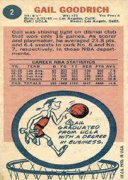 1969-70 Topps #2 Gail Goodrich RC back image