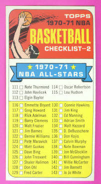 1970-71 Topps #101B Checklist 111-175/(1970-71 in white)