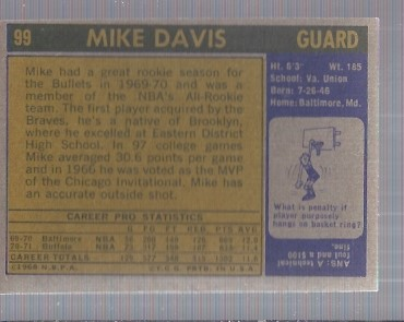 1971-72 Topps #99 Mike Davis DP back image