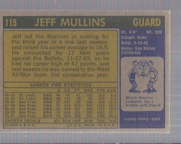 1971-72 Topps #115 Jeff Mullins DP back image