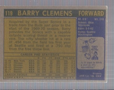 1971-72 Topps #119 Barry Clemens back image