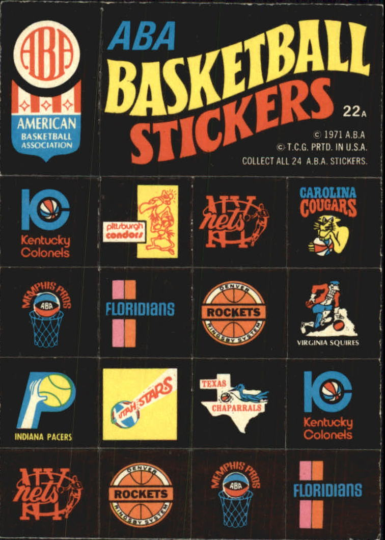 1971-72 Topps Trios #22A ABA Team DP/Logo Stickers