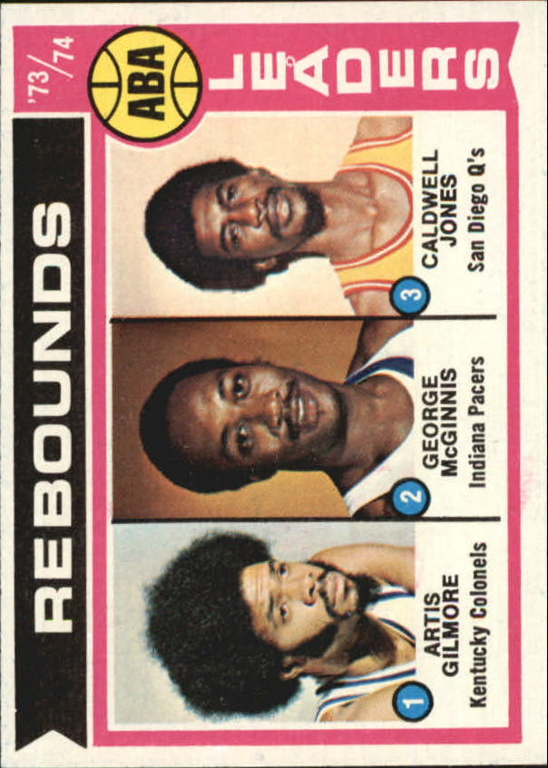 1974-75 Topps #211 Artis Gilmore/George McGinnis/Caldwell Jones LL