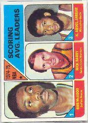 1975-76 Topps #1 Bob McAdoo/Rick Barry/Kareem Abdul-Jabbar LL