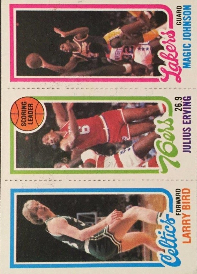 1980-81 Topps #6 34 Larry Bird RC/174 Julius Erving TL/139 Magic Johnson RC