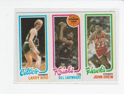 1980-81 Topps #94 34 Larry Bird/164 Bill Cartwright TL/23 John Drew