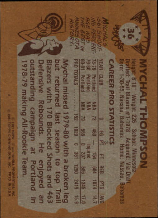 1981-82 Topps #36 Mychal Thompson back image