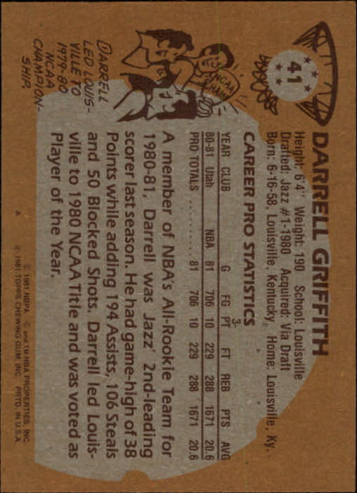 1981-82 Topps #41 Darrell Griffith RC back image