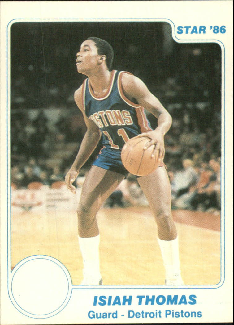 1985-86 Star #10 Isiah Thomas UER/(No Pistons logo on card front)