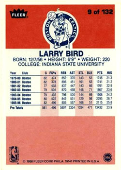 1986-87 Fleer #9 Larry Bird !
