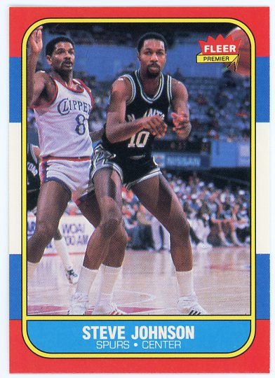 1986-87 Fleer #55 Steve Johnson RC UER/(photo actually David Greenwood)