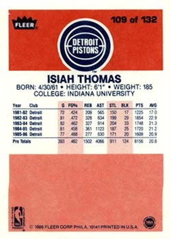 1986-87 Fleer #109 Isiah Thomas RC