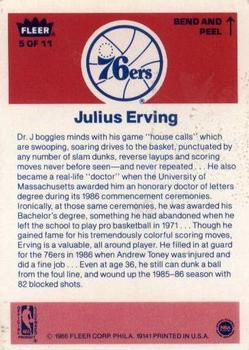 1986-87 Fleer Stickers #5 Julius Erving back image