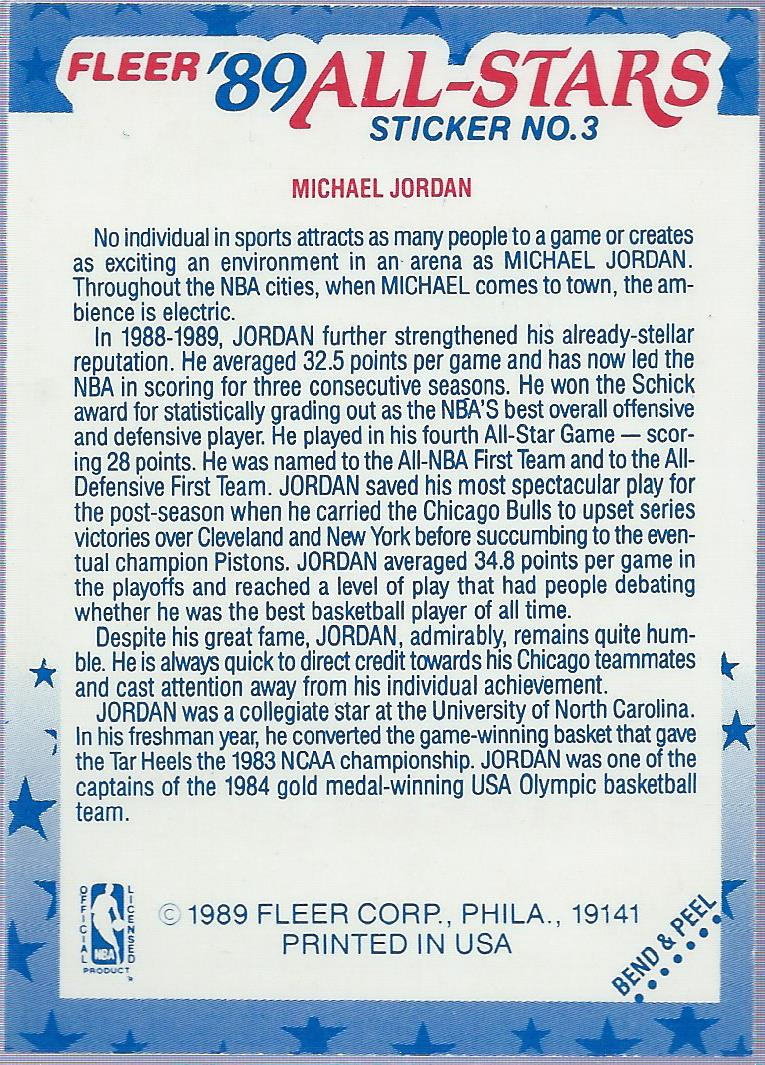 1989-90 Fleer Stickers #3 Michael Jordan back image
