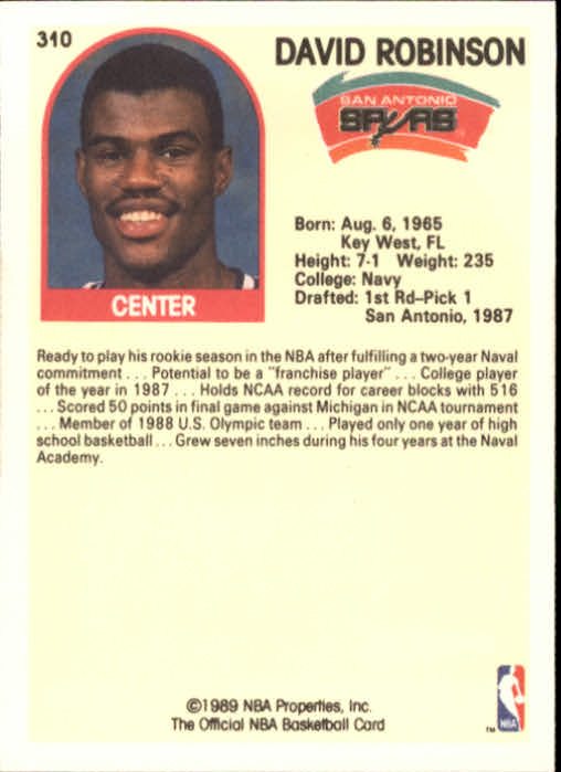 1989-90 Hoops #310 David Robinson IA