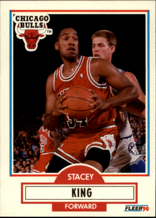 1990-91 Fleer #27 Stacey King UER RC/(Comma missing between progressed and Stacy)