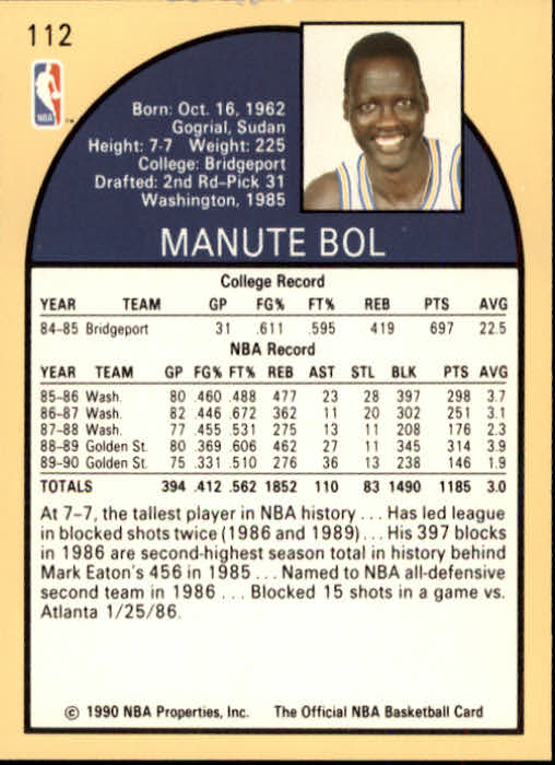 1990-91 Hoops #112 Manute Bol SP back image