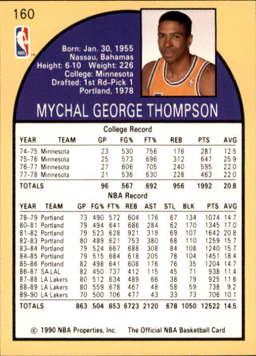 1990-91 Hoops #160 Mychal Thompson back image