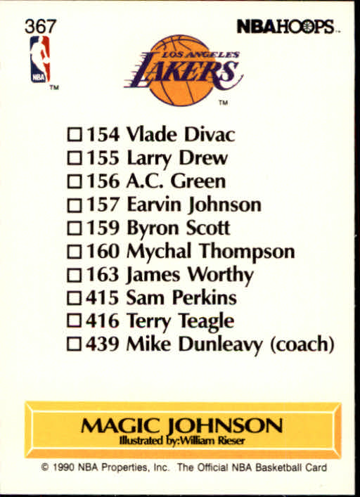 1990-91 Hoops #367 Magic Johnson TC UER/(Dunleavy listed as 439, should be 351) back image