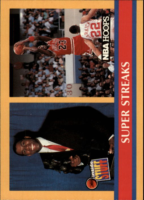 1990-91 Hoops #385 Super Streaks/Stay In School/(Magic Johnson and Michael Jordan) front image