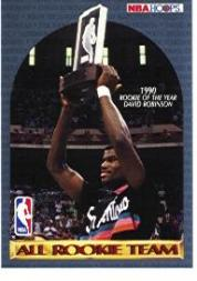 1990-91 Hoops #NNO David Robinson and/All-Rookie Team/(No stats on back)