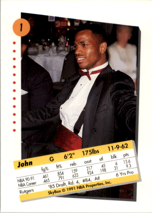 1991-92 SkyBox #1 John Battle back image