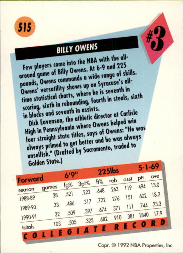 1991-92 SkyBox #515 Billy Owens RC back image