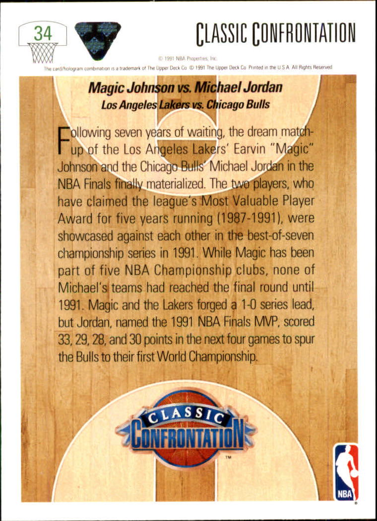1991-92 Upper Deck #34 M.Johnson/M.Jordan CC back image