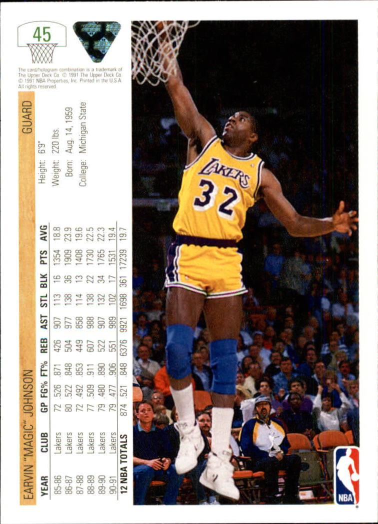1991-92 Upper Deck #45 Magic Johnson back image