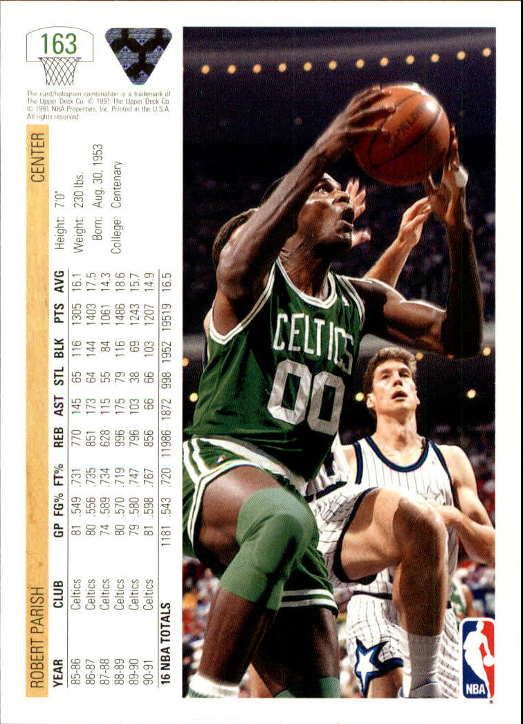 1991-92 Upper Deck #163 Robert Parish back image