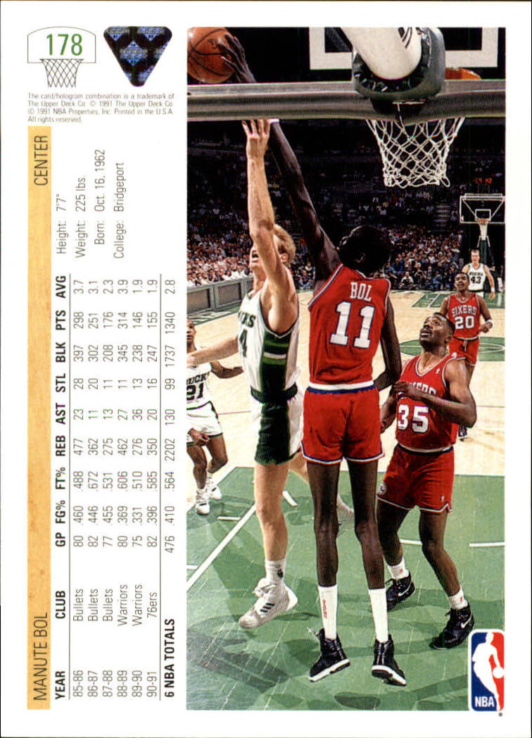 1991-92 Upper Deck #178 Manute Bol back image