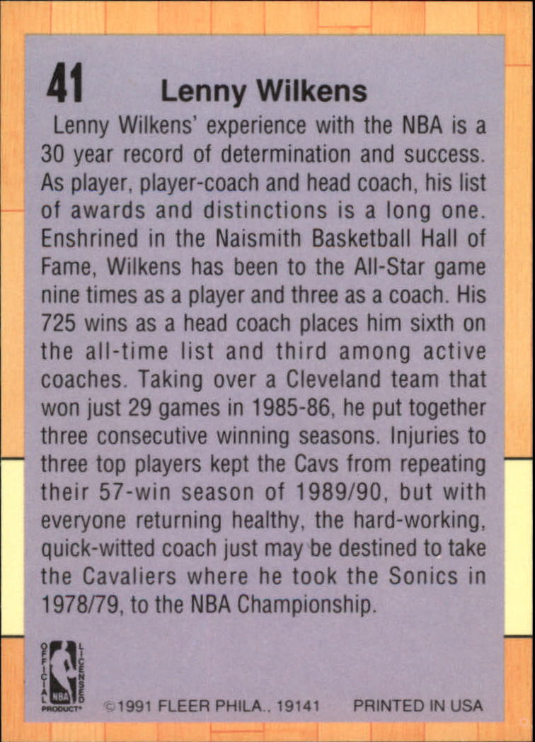 1991-92 Fleer #41 Lenny Wilkens CO back image