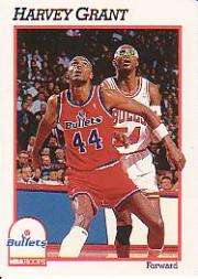 1991-92 Hoops #216 Harvey Grant/(Shown boxing out twin brother Horace)