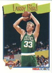1991-92 Hoops #314 Larry Bird UER/Milestone/(Should be card 315 to fit Milestone sequence)