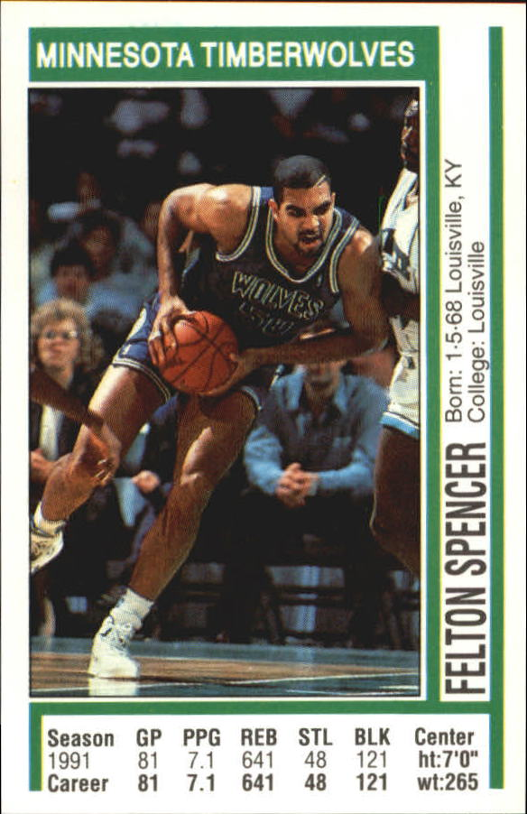 1991-92 Panini Stickers #64 Felton Spencer