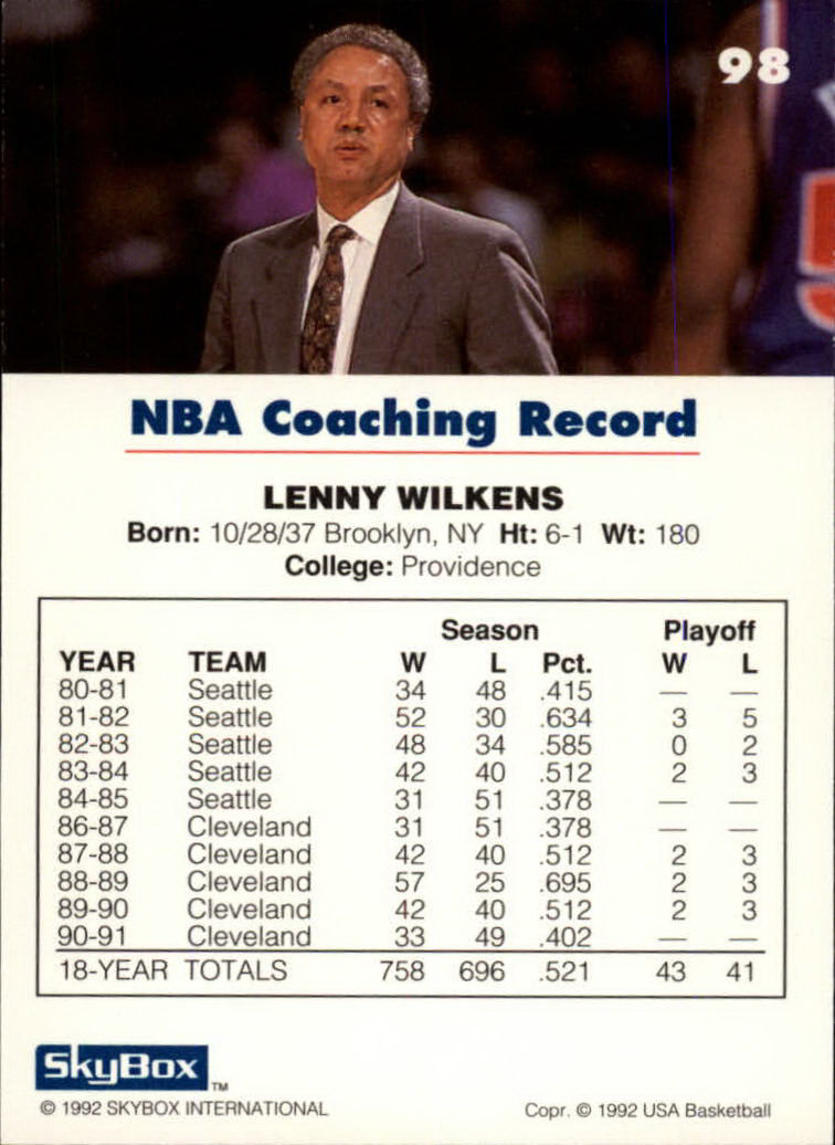 1992 SkyBox USA #98 Lenny Wilkens CO/NBA Coaching Record back image