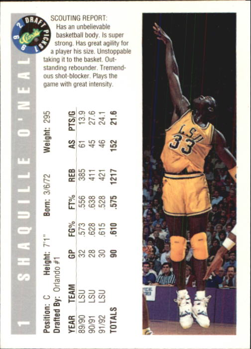 1992 Classic #1 Shaquille O'Neal back image