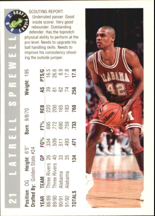 1992 Classic #21 Latrell Sprewell back image