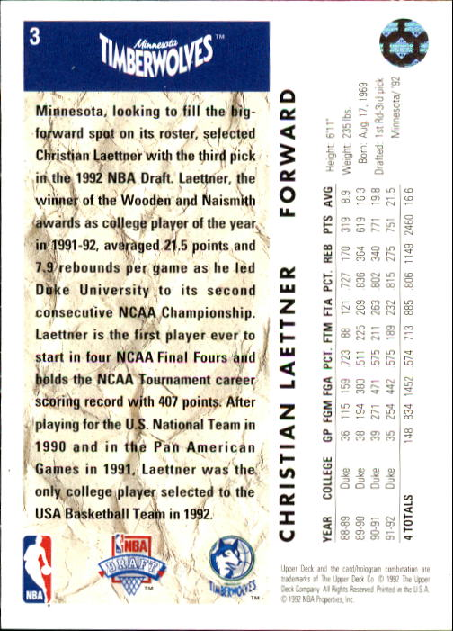 1992-93 Upper Deck #3 Christian Laettner RC back image