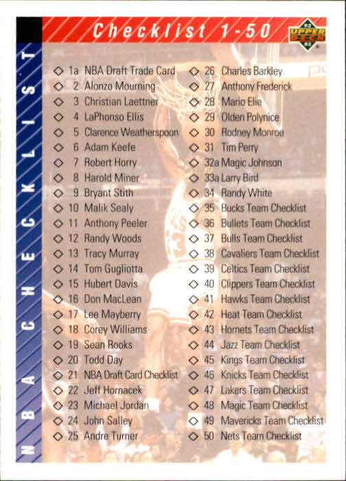 1992-93 Upper Deck #90 Form Checklist 1