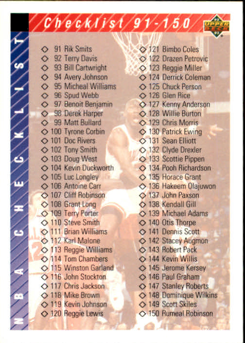 1992-93 Upper Deck #200 Form Checklist 2