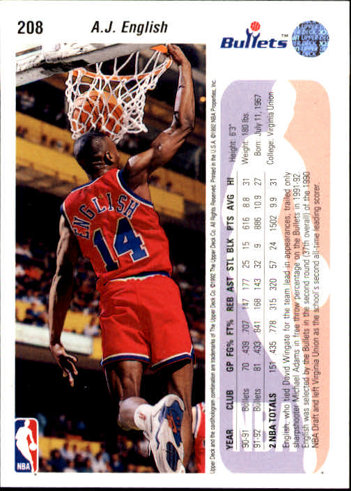 1992-93 Upper Deck #208 A.J. English