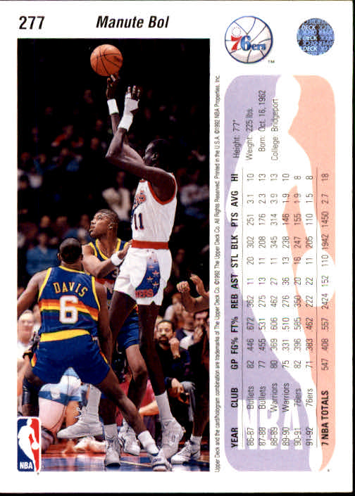 1992-93 Upper Deck #277 Manute Bol back image
